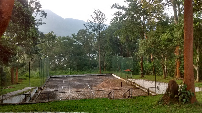 Tennis court at Gudalur Cosmopolitan Club with the forest and the higher hills behind.